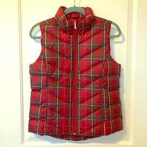 Land's End Red Plaid Puffer Vest